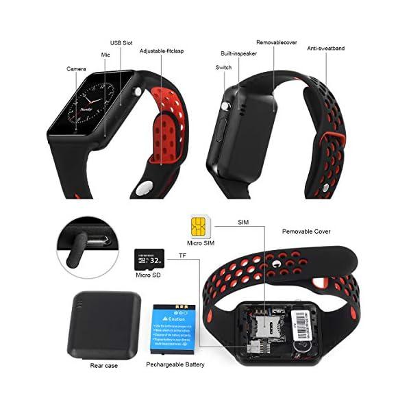 Dr.Haer Reloj Inteligente, M3 Smartwatch Bluetooth Deporte Fitness Tracker con Monitor de Pulso Cardiaco,Rastreador de Ejercicios para iOS, Android Phones,etc 3