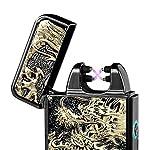 Juleya Accendino per Sigaretta Lungo doppio arco rilievo dimensionale ricarica USB Lighter Nero