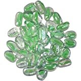 Maalavya 145 Pieces Crystalline And Translucent Shaded Glass Stone For Decorative Aquarium Fish Tank And Substrate Glass Stone Or Pebbles.(translucent Glass With Green Eye Shades)