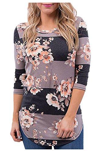 Issza Damen Herbst Blumen Spleiß Druck Langarm Rundhals Pullover Bluse Oberteil Tops T-Shirt Kaffee (Armee Outfits)