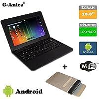 "G-Anica Ordenador portátil de 10.1""(WIFI, 1.5GHz 1GB de RAM, 8 GB de disco duro) Android 4.4.2 Netbook color Negro+Bolso del ordenador portátil"