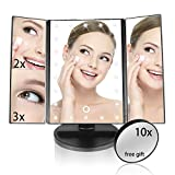 Lighted Makeup Mirror, ELOKI 22 Led Illuminated Trifold Makeup Vanity Mirror with Lights, 3X 2X 1X Magnification Touch Screen 180 Degree Rotation, Removable 10X Cosmetic Spot Mirror Included for Beauty Bath