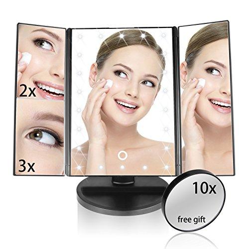 Miroir de maquillage éclairé, Miroir de télécommande ELOKI 22 Led, 3X 2X 1X Zoom, écran tactile de 180 degrés, miroir de miroir cosmétique extractible 10X comme CADEAU GRATUIT pour les voyages et la beauté de la maison