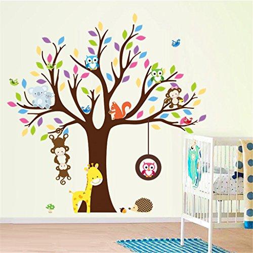 ElecMotive Entfernbare Wandtattoo Wandaufkleber Wall sticker Aufkleber DIY für Wohnzimmer Schlafzimmer Kinderzimmer in Geschenkkarton (Eulen & Eichhörnchen)