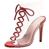 UH Damen Stiletto High Heels Sandaletten Transparent Sandalen mit Schnüren Slingback Schuhe