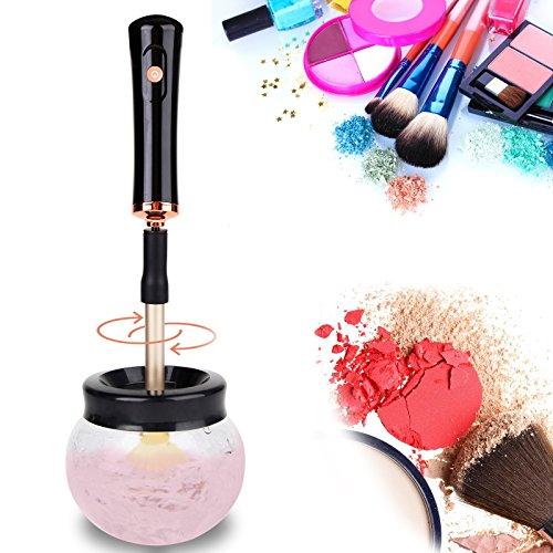 Baytter Make up Pinsel Reiniger Elektrischer Kosmetikpinsel Reinigungsgerät und Trockner mit 8 Silikonmanschetten für schnelle Reinigung multi-size Make-up Pinsel, Schwarz (Trockner Elektrische Stecken)