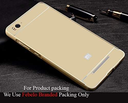 Febelo Branded Metal Alloy Bumper Frame Case with Acrylic Back Cover for Xiaomi Mi4i - Gold Color