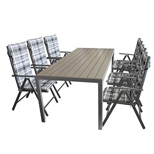 13tlg. Sitzgarnitur Aluminiumtisch mit Polywood Tischplatte in schwarz 205x90cm + 6x Hochlehner, Textilenbespannung, Lehne 7-fach verstellbar + 6x Stuhlauflage / Terrassenmöbel Gartenmöbel Set Garnitur