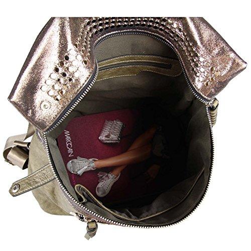 OBC DAMEN METALLIC RUCKSACK TASCHE Cityrucksack Stadtrucksack Nieten Daypack Backpack Schultertasche Handtasche Umhängetasche Shopper Schwarz Schwarz