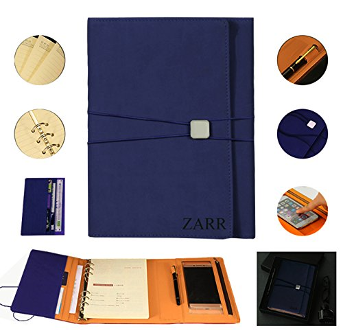 Portfolio Binder Organizer, ZARR 6-in-1 Deluxe PU Leather Business Padfolio-Document Organizer+Card Holder+Refillable A5 Writing Notepad+Pen&Holder+Zippered Phone Case with Clear Protector+Gift Box (Navy)