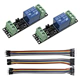 KeeYees 2pcs 1 Kanal 3 V Hoch Trigger Relais Modul mit Optokoppler Isolation für ESP8266 Entwicklungsboard + 3pcs 20 CM 10Pin Weiblich Männlich Dupont Jumper Wires