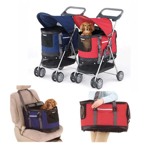 Haustierbuggy / Hundebuggy, All-in-One Hundeautositz / Buggy / Haustiertransporttasche, Blau -