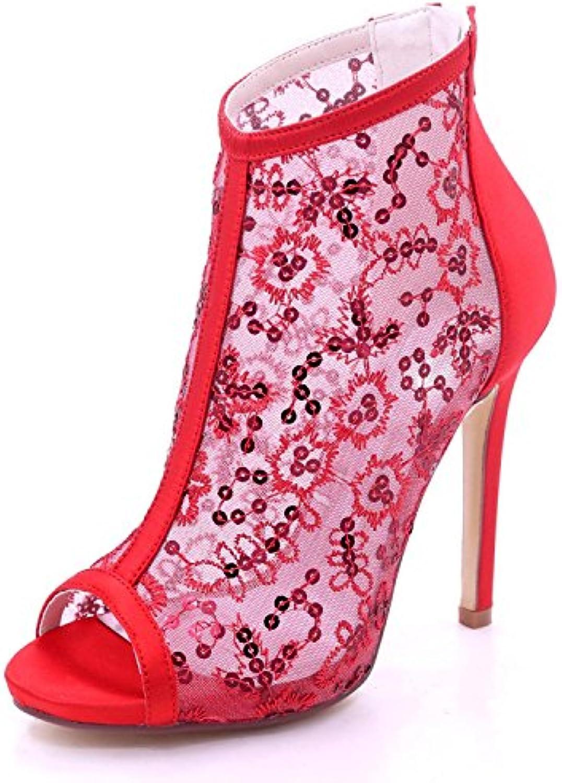 Elegant high shoes Boda Para Mujer 7216-01B Satinado y Encaje Peep Toe Cremallera de Tacón Alto Dama de Honor... -