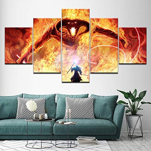 zysymx On The Wall Gandalf FightingThe Dragon The Lord of The Rings Balrog Movie Wall Pictures For Living Room Láminas… 4