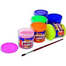 Jovi - Glitter, caja con 6 botes témpera, 55 ml, surtidos con pincel (518)