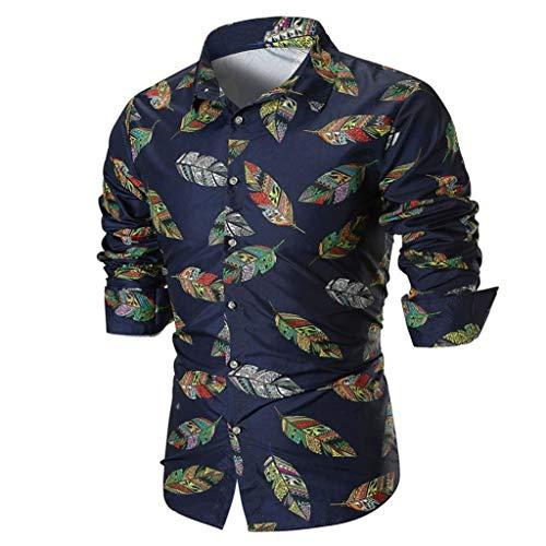 (MRULIC Herren Shirt Kentkragen Langarm Shirts Businesshemd Freizeithemd Oktoberfest Karnevals kostüm(B-Marineblau,EU-48/CN-XL))