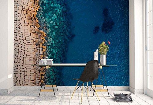 Vlies Fototapete Fotomural - Wandbild - Tapete - Brick Haufen Küste Kanu - Thema Strand und Küste - L - 254cm x 184cm (BxH) - 2 Teilig - Gedrückt auf 130gsm Vlies - 1X-1188905V4