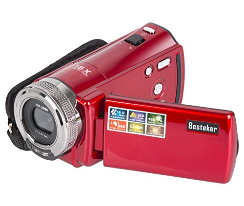 Camera Camcorders, Besteker Portable Digital Video Camcorder HD Max 16 Mega Pixels 1280*720P DV 2.7 Inches TFT LCD Screen 16X Zoom Camera Recorder (Red)