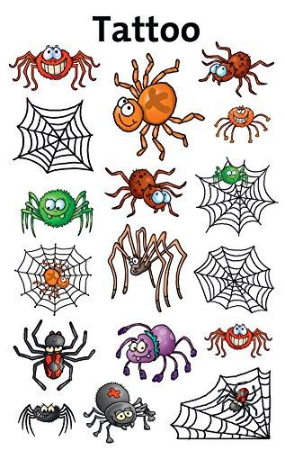 (AVERY Zweckform 56693 Temporäre Tattoos Spinnen (Kindertattoos, dermatologisch getestet, Kindergeburtstag, Kinder zum Spielen) 17 Motive für Jungen)