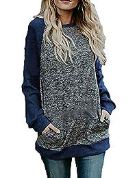 Sudadera Mujer Fashion Casual Shirt Vintage Otoño Tops Invierno Manga Larga  Cuello Redondo con Bolsillos Anchas Elegantes Pullover… e4090ac92902