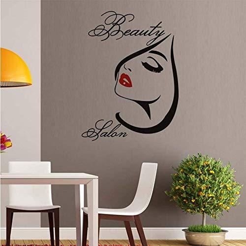 Qthxqa Schönheitssalon Make-Up Rote Lippen Abnehmbare Vinyl Wandaufkleber Für Wohnzimmer Wanddekorkunst Diy Abziehbilder Dekoration 56 * 75