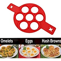 Fellibay Pancake Mold Silicone Baking Mould Non Stick Flippin Pancake Ring Mold Heat Resistant Fried Egg Mold Egg Ring Shaper with Handle Pancake Flipper,Baking Hash Brown / Omelette / Pastry Mold, Kitchen Tool