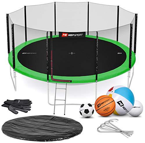 Hop-Sport Gartentrampolin Outdoor Trampolin 244, 305, 366, 430, 490 cm Komplettset inkl. Außennetz Leiter Wetterplane Bodenhaken 490cm