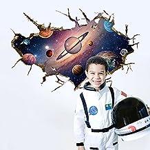 Wallpark Hermoso Galaxia 3D Espacio Universo Tierra Planetas Desmontable Pegatinas de Pared Etiqueta de la Pared, Bebé Niños Hogar Infantiles Dormitorio Vivero DIY Decorativas Adhesivo Arte Murales