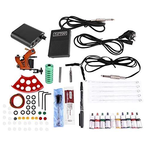 Professionelle Einweg-kit (TOOGOO Komplette Tattoo Kits Professionelle Maschine Leistung Pedal 10 Farb Tinten S?tze Ern?hrung Einweg Nadel Greif Spitze Eu Stecker)