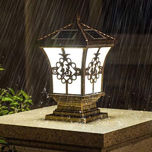 ZQH Solar Zaunlichter, Solar LED Post Cap Light Groß Aluminium Säulenlicht IP65 Wasserdicht Draussen Garten Patio Light Dual Mount Dekor Villa Hof Gehweg-Lampen,30 * 55cm -