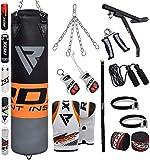 RDX Sac de Frappe Rempli Lourd MMA Punching Ball Muay Thai Arts Martiaux Kickboxing Kit Boxe avec Gants Chaine Suspension Support Mural...