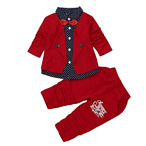 Rosennie_Baby Junge Bekleidungsset Formal Babyanzug Ausrüstungs-Set Gentleman Plaid Shirt + Hose mit Ausstattung Baby Boy Party Taufe Hochzeit Tuxedo Bow Anzug Kleidung Set (Rot A,90)