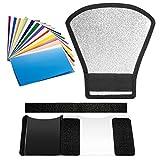 Neewer Flash Speedlite Difusor y Kit de Filtro - Reflector de Plata y Blanco y 12 Piezas de Filtro de Color para Canon Nikon Pentax Yongnuo Godox Sony Sigma Nissin Sunpak Speedlite