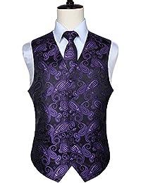 HISDERN Herren Klassische Paisley Floral Jacquard Weste & Krawatte und Einstecktuch Weste Anzug Set