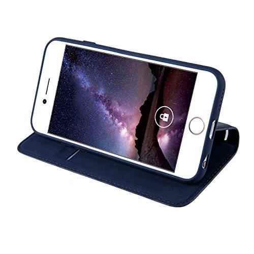 Coque Apple iPhone 6/6S(4.7 Zoll) Étui en Cuir, Ecoway Série Ladder PU Case Cover Flip Cover Emplacement de Carte de Portefeuille Pour Apple iPhone 6/6S(4.7 Zoll) - marron bleu royal