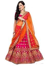 f022c826a Suppar Sleave Women s Embroidered Taffeta Satin Lehenga Choli with Blouse  Piece (Pink.Orange