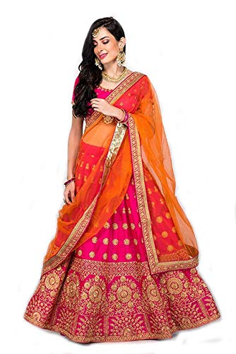 Suppar Sleave Women's Embroidered Taffeta Satin Lehenga Choli with Blouse Piece (Pink.Orange,Free Size)