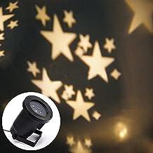Locisne LED Moving fiocco di neve / stelle Riflettori luci di inondazione interni / esterni Paesaggio lampada del proiettore di partito di festa di Natale Tree Garden Patio fase la decorazione della casa IP44 (stelle bianche caldo)