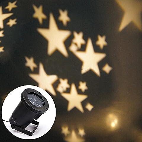 Locisne Indoor / Outdoor-Landschaft-Projektor-Lampen-Feiertags-Party Weihnachtsbaum Garten Innenhof Bühnen Haus Dekoration IP44 LED bewegliches Snowflake / Sterne-Flutlicht-Scheinwerfer (Sterne warmweiß plug2 #)