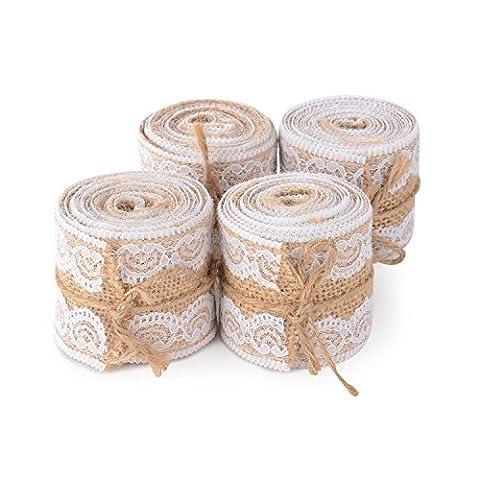 """Advantez 4-Pack 1.9 """"x 2Yards Rouleau de ruban Artisanat naturel Burlap avec dentelle blanche Bricolage Décoration de mariage de fête de mariage"""