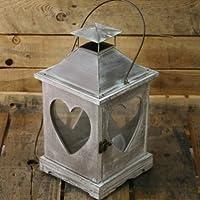 Large Limewash Heart Lantern ~ 34cm Shabby Chic Candle Holder