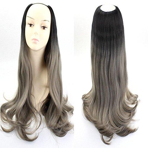 61cm gewellt U Teil Perücken Frauen Synthetik ombre Farbe Haar Kostüm Perücke für Halloween Cosplay Party (Wollen U Kostüm)
