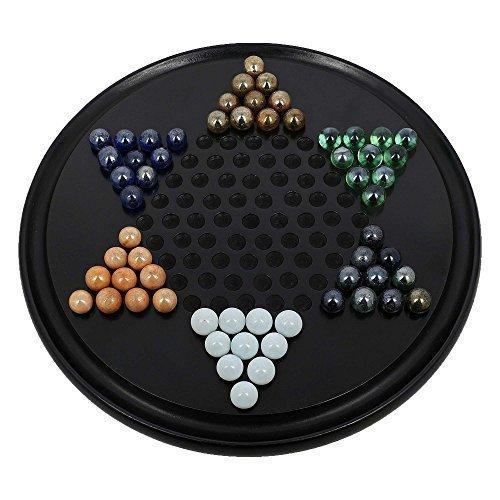 HölzChinese CheckersMitGlasMurmeln-28Cm-StrategieBrettspieleFürFamilien;SchwarzeFarbe