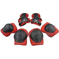 GIM Bambino protezioni Set con Ginocchiere, gomitiere e polsiere per Skateboard, Ciclismo, Scooter e altre attività Sportive - Rosso
