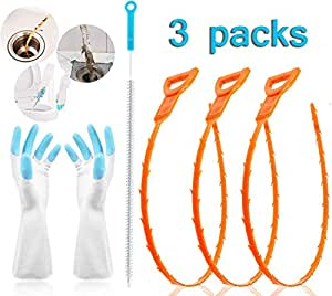 Sink Snake Hair Catcher Tool Overflow Cleaning Brush Drain Relief Cleaner Plumbing Snake with Gloves for Sink Sugelary Drain Clog Remover Tube Drain Cleaning