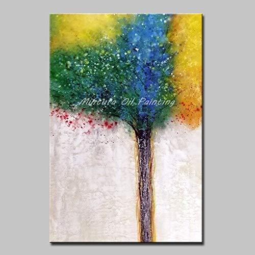 YYHDYP Kunst Große Größe Handgemalte Lebensbaum Ölgemälde Auf Leinwand Wandkunst Bilder Für Wohnzimmer Wanddekoration Kein Rahmen 110X180 cm Mt161243