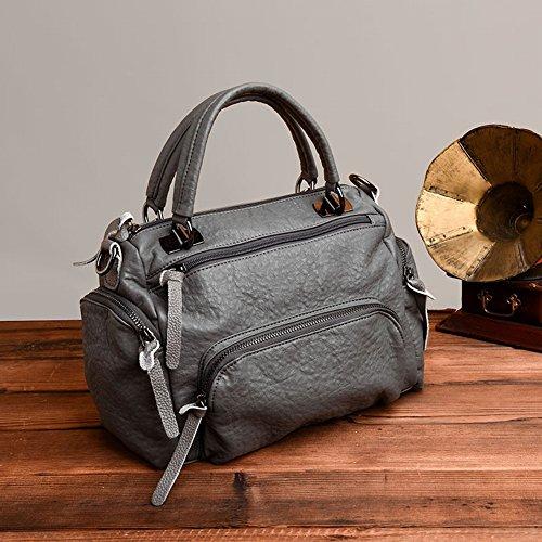Boston Handtaschen Personalisierte Mode Tasche Mumie Tasche Mehrschichtige Weiche Lederatmosphäre Messenger Bag , hellgrau - Personalisierte Boston Bag