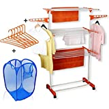 Favour Made In India Life Time Use 3 Tier Mild Stainless Steel Floor Cloth Dryer Stand Racks Hanger (Orange)