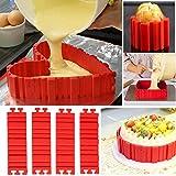 Silikon Backform Set,  Kuchenformen, Cake Mould, Magic Bake Snake, Kuchen Herzform Rund Blume quadratische Zahlen Buchstaben, flexible Silikonform für Torten Fondant Muffin(4Pcs)