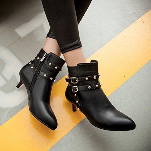 YE Damen Kitten Heel Spitze Stiletto Stiefeletten mit Nieten und Reißverschluss Schnallen 5cm Absatz Ankle Boots Schwarz